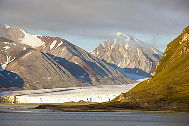 A glacier at Recherchefjorden on Western Svalbard. All of Svalbards glaciers are retreating, even in the north of the archiapelago despite only being around 600 miles from the North Pole.