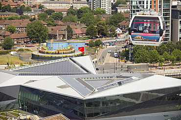 Solar thermal and solar PV panels on the roof of the Crystal building which is the first building in the world to be awarded an outstanding BREEAM (BRE Environmental Assessment Method) rating and a LEED (Leadership in Energy and Environmental Design) platinum rating. London, UK.