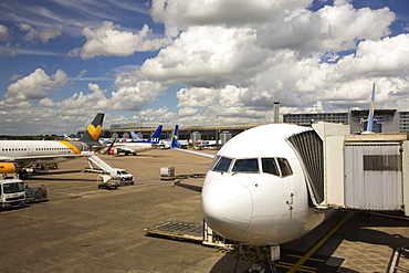 A plane at Manchester airport, UK.