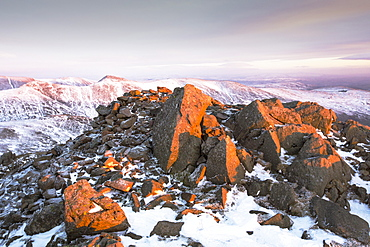The summit of Red Screes at sunset in the Lake District, UK, taken on Wednesday 4th February 2015
