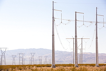 Pylons carrying solar electric from the Copper Mountain Solar 3 project, is a 250-megawatt solar power plant that produces enough energy to power 80, 000 homes, in Nevada, USA.