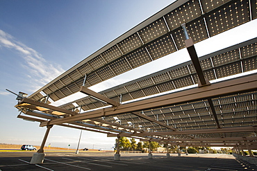 Solar panels on a college car park in Bakersfield, California, USA. following the four year long drought, Bakersfield is now the driest city in the USA.