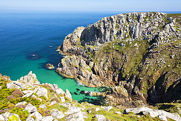 Granite sea cliffs at Bosigran on Cornwall's North Coast, UK.