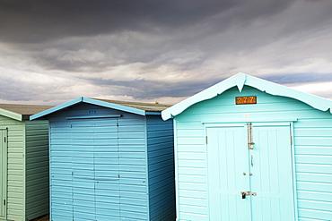 Beach huts in Brightlingsea, Essex, UK.