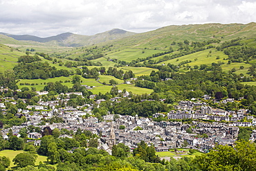 Looking down on Ambleside in the Lake District, Cumbria, UK.