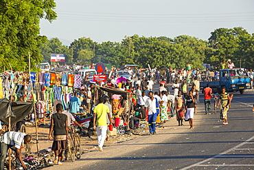 An African market on the roadside in Ckiwawa, Malawi, Africa.