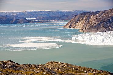 The Eqip Sermia glacier that is receding rapidly due to global warming on the west coast of Greenland, Polar Regions