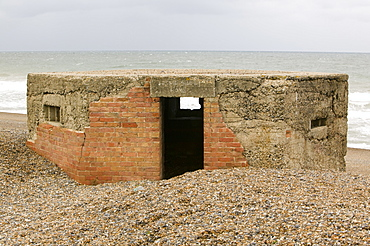 A 2nd World War bunker on the beach at Cley, Norfolk, England, United Kingdom, Europe