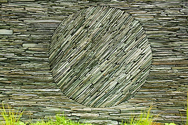 An Andy Goldsworthy art instalation in a sheep fold at Tilberthwaite, Lake District, Cumbria, England, United Kingdom, Europe