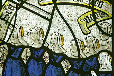 Medieval stained glass in St. Neots church on Bodmin Moor, Cornwall, England, United Kingdom, Europe
