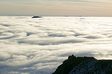 View from Red Screes above a temperature inversion, Lake District National Park, Cumbria, England, United Kingdom, Europe