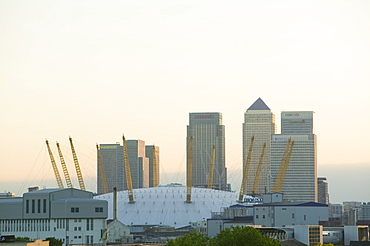 Canary Wharf and the Millennium Dome, Docklands, London, England, United Kingdom, Europe