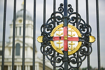 The gates to the Royal Naval College, Greenwich, UNESCO World Heritage Site, London, England, United Kingdom, Europe