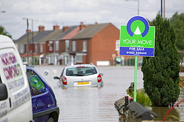 The village of Toll Bar one of many places hit by unprecedented floods in June 2007, near Doncaster, South Yorkshire, England, United Kingdom, Europe