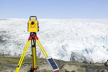 PHD scientist Ian Bartholomew's theodolite measuring the speed of the Russell Glacier near Kangerlussuaq, Greenland, Polar Regions