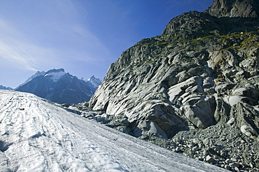 Polished rock left on the side of the valley by the retreating Mer Du Glace, Chamonix, Haute Savoie, France, Europe