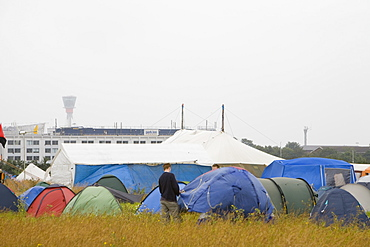 The Climate Camp protest against airport development at Heathrow and the village of Sipson that would be demolished to make way for a third runway, Greater London, England, United Kingdom, Europe