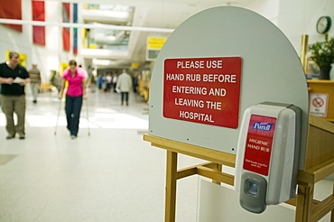 Anti bacterial hand wash at the entrance to Carlisle hospital to help combat MRSA and other deseases, Cumbria, England, United Kingdom, Europe