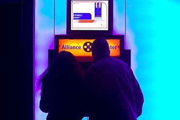 A cash machine at an Alliance and Leicester building society branch in Loughborough, Leicestershire, England, United Kingdom, Europe