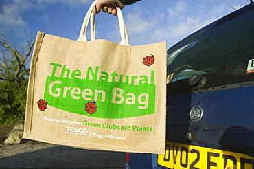 An environmentally friendly shopping bag, England, United Kingdom, Europe