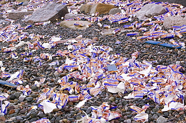 Chocolate biscuits washed overboard from the Riverdance which washed ashore off Blackpool, Lancashire, England, United Kingdom, Europe