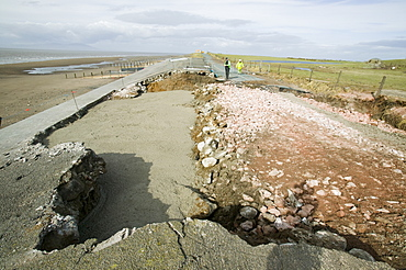 Damage to the road between Allonby and Silloth caused by floods in 2008, Cumbria, England, United Kingdom, Europe