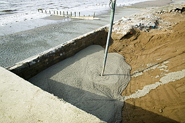 Repairing damage to the road between Allonby and Silloth caused by floods in 2008, Cumbria, England, United Kingdom, Europe