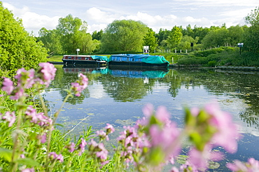 Low carbon living house boats on the Fossdyke at Lincoln, Lincolnshire, England, United Kingdom, Europe
