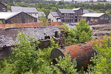 An old iron works site at Backbarrow being turned into residential housing and commercial units, Lake District, Cumbria, England, United Kingdom, Europe