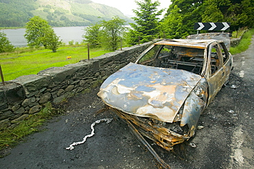 A stolen car burnt out in the Lake District, Cumbria, England, United Kingdom, Europe