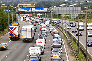 Traffic congestion on the M1 motorway at Loughborough, Leicestershire, England, United Kingdom, Europe