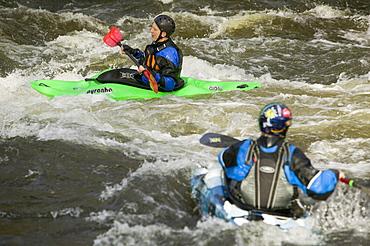 Canoeists on the River Brathay near Ambleside, Lake District, Cumbria, England, United Kingdom, Europe