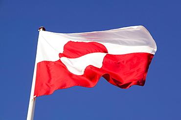 A Greenlandic flag in Ilulissat, Greenland, Polar Regions