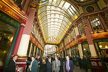 City traders from Lloyds drinking after work in London, England, United Kingdom, Europe