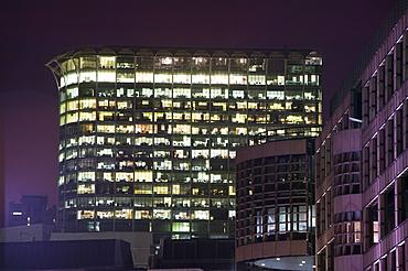 Office blocks burning energy needlessly at night in London, England, United Kingdom, Europe
