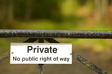 A private sign on a gate, United Kingdom, Europe