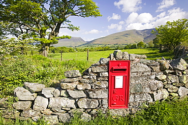 A rural postbox in St. Johns in the Vale near Keswick, Lake District, Cumbria, England, United Kingdom, Europe