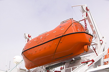 A lifeboat on a passenger ferry in Ilulissat on Greenland's west coast, Greenland, Polar Regions