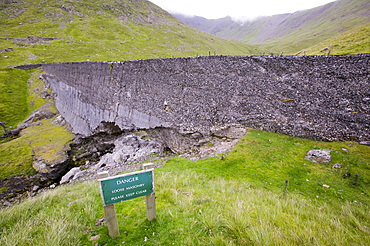 An old abandoned dam near mine workings on Helvellyn, Lake District, Cumbria, England, United Kingdom, Europe