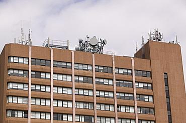 Mobile phone masts on an office block in Preston, Lancashire, England, United Kingdom, Europe