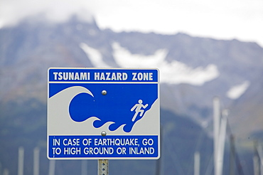 A Tsunami warning sign in Seward, Alaska, United States of America, North America