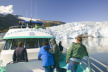Tourists on a boat trip to the Aialick Glacier in Kenai Fjords National Park in Alaska, United States of America, North America