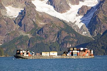 A supply ship approaching Seward, Alaska, United States of America, North America