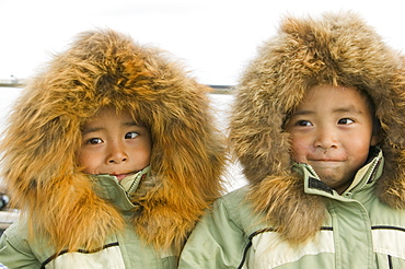 Richard and Jeffrey Tokeinna, Inuit twins, on Shishmaref, a tiny island inhabited by around 600 Inuits, between Alaska and Siberia in the Chukchi Sea, United States of America, North America