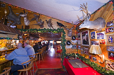 Furs in the Chatanika Lodge, a typical Alaskan bar, near Fairbanks, Alaska, United States of America, North America
