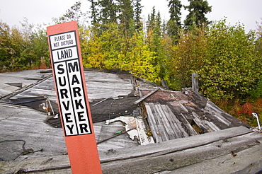 House collapsed due to global warming-induced permafrost melt, Fairbanks, Alaska, United States of America, North America