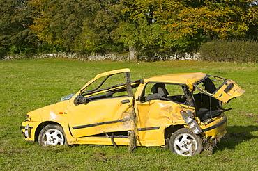 A crashed car in Cumbria, England, United Kingdom, Europe