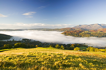 A temperature inversion leading to valley mists, Lake District, Cumbria, England, United Kingdom, Europe