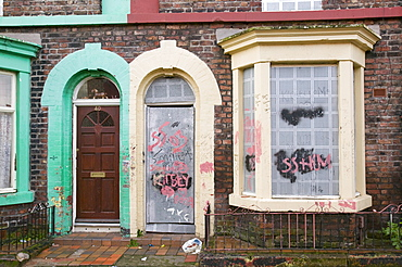 Boarded up houses in the Kensington area of Liverpool, Merseyside, England, United Kingdom, Europe
