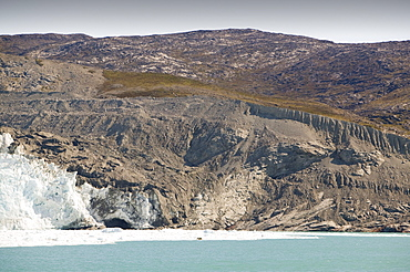 Moraine left by the retreating Eqip Sermia glacier at Camp Victor north of Ilulissat on the west coast of Greenland, Polar Regions